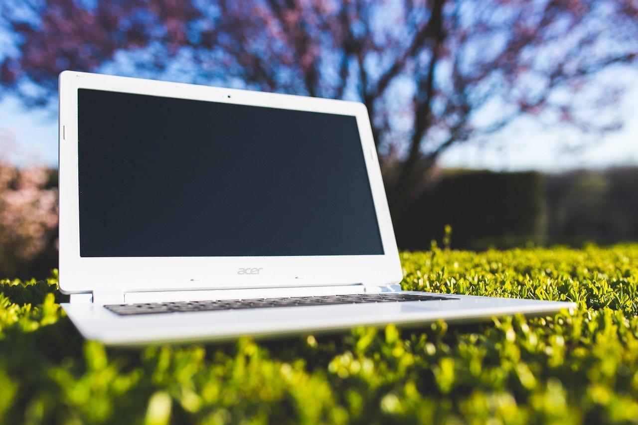 weißer Laptop auf der Wiese