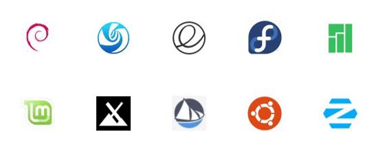 Linux Distributionen: Debian, deepin, elementary, fedora, manjaro, mint, MX,  Solus, Ubuntu, Zorin