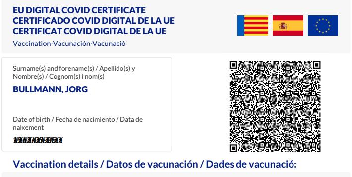 CovPass in Spanien bekommen